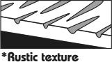 Reliéf plastické struktury dřeva, rustikální povrch pomáhá k pohodlné údržbě a realistickému vzhledu.